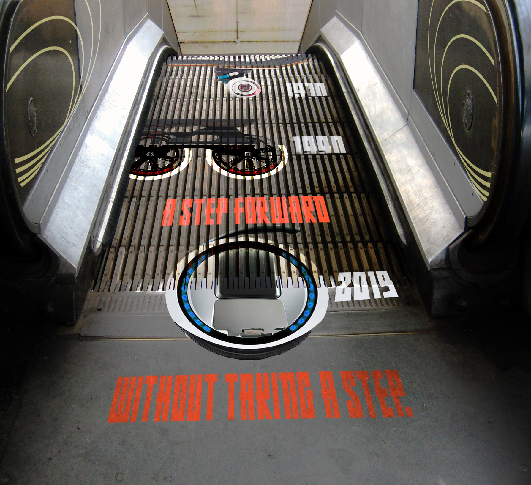 Escalator with print of different wheel articles
